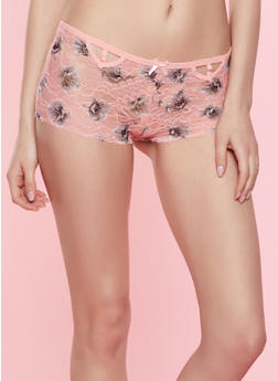 Caged Cut Out Floral Lace Boyshort Panty - 7150035160752