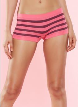 Striped Seamless Boyshort Panty - FUCHSIA - 7150035160800