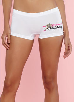 Seamless Day of the Week Graphic Boyshort Panties - 7150035161356
