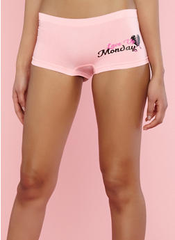Seamless Day of the Week Graphic Boyshort Panties - 7150035161356