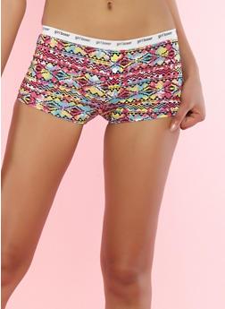 Aztec Print Boyshort Panties - 7150035161371