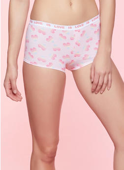 Heart Print Boyshort Panty - CORAL - 7150035161428