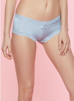 Lace Trim Caged Hipster Panty - CHAMBRAY - 7150035161444