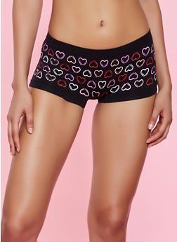 Heart Print Seamless Boyshort Panty - 7150035161446
