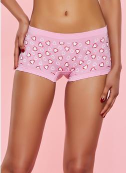 Seamless Heart Print Boyshort Panty - 7150035161474