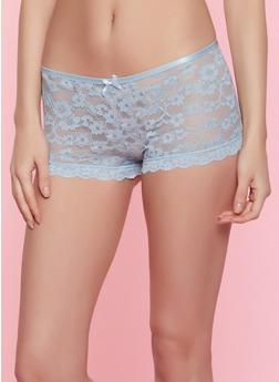 Caged Back Lace Boyshort Panty   Chambray - 7150035161758