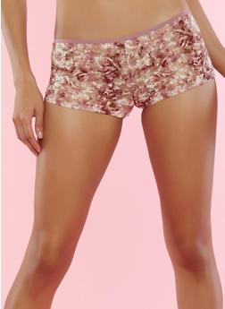 Floral Lace Boyshort Panties - 7150035162709
