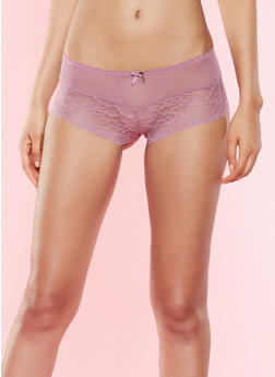 Lace and Mesh Boyshort Panties - 7150064870172
