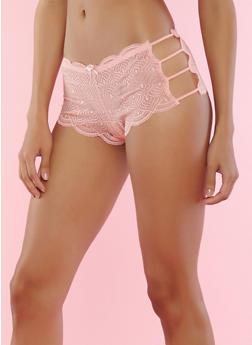 Caged Scallop Lace Boyshort Panties - 7150064875822