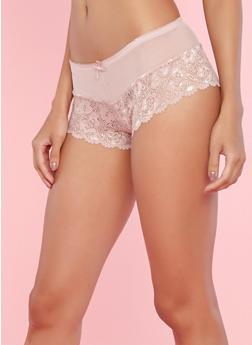 Pink Lace Boyshort Panties with Mesh Detail - 7150064876611