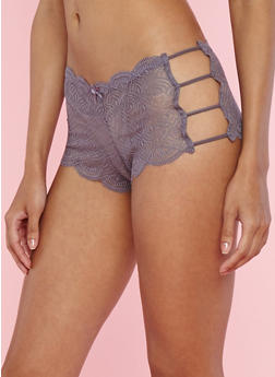 Lace Caged Side Boyshort Panties - 7150064876821