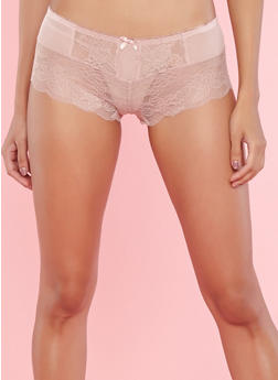 Pink Mesh Lace Boyshort Panties - 7150064878736