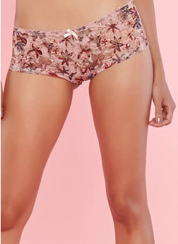 Floral Lace Boyshort Panties - 7150064878840