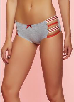 Striped Elastic Trim Boyshort Panty - 7150068060115