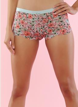Printed Lace Boyshort Panties - 7150068061769