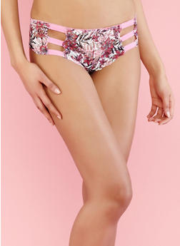 Printed Lace Caged Boyshort Panties - 7150068062812