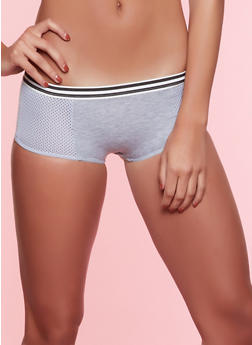 Black Striped Band Mesh Cotton Boyshort Panty - 7150068064116