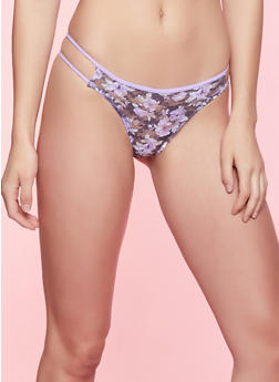 Floral Lace Caged Side Thong Panty - 7162035160740