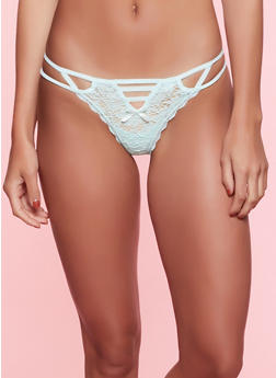 Strappy Caged Lace Thong Panty - MINT - 7162035160743
