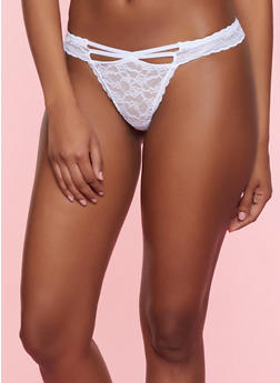Caged Front Lace Thong Panty - WHITE - 7162035160744