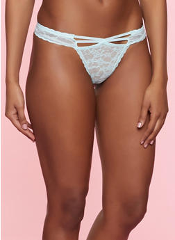Caged Front Lace Thong Panty - MINT - 7162035160744