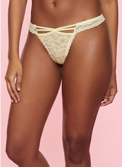 Caged Front Lace Thong Panty - YELLOW - 7162035160744