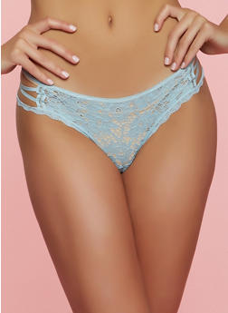 Lace Caged Side Thong Panty - CHAMBRAY - 7162035160745