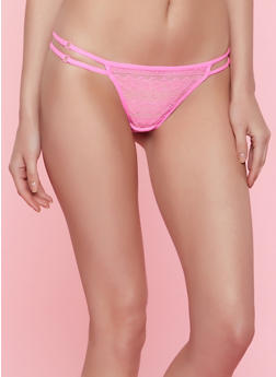Lace Double Strap Thong Panty - 7162035160747