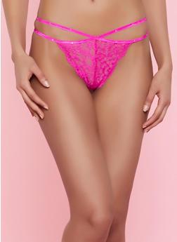 Studded Lace Thong Panty - 7162035160748