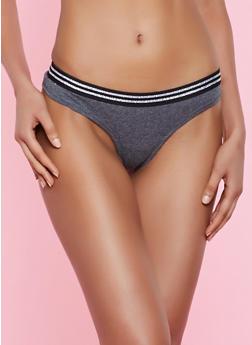 Lurex Waistband Thong Panty - 7162035160881