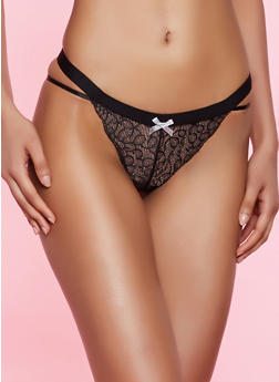 Caged Shimmer Lace Thong Panty - 7162035168752