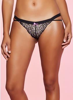 Printed Lace Cut Out Thong Panty - 7162035168756