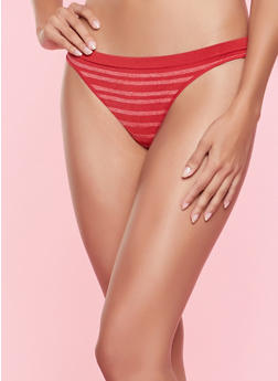 Striped Seamless Thong Panty - RED - 7162064870023