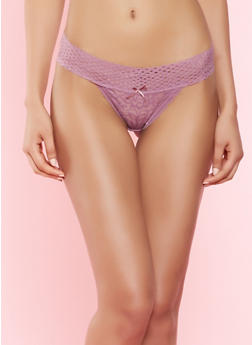 Fishnet Trim Lace Thong Panty - 7162064870145