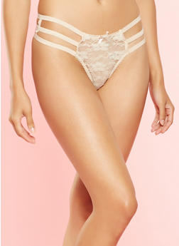 Caged Lace Thong Panty - 7162064870691