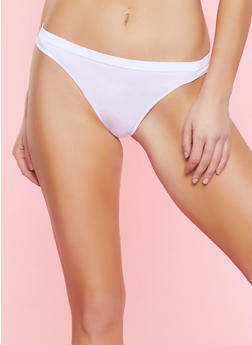 Seamless Solid Thong Panty - WHITE - 7162064871919