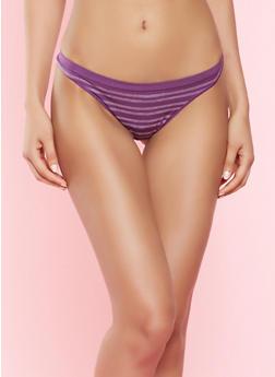Striped Thong Panty - WINE - 7162064878630