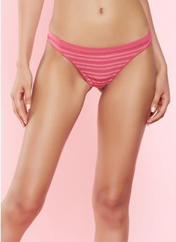 Striped Thong Panty - MAGENTA - 7162064878630