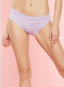 Striped Seamless Bikini Panty - LILAC - 7162064878632