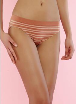 Striped Bikini Panty - BROWN - 7162064878633