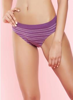 Striped Bikini Panty - WINE - 7162064878633