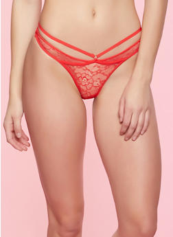 O Ring Caged Lace Thong Panty - 7162068060266