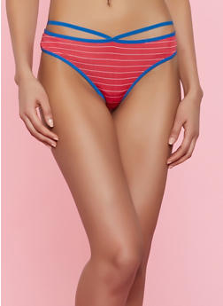 Caged Striped Thong Panty - 7162068063319