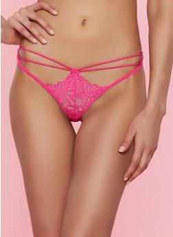 Strappy Lace Thong Panty - FUCHSIA - 7162068063416