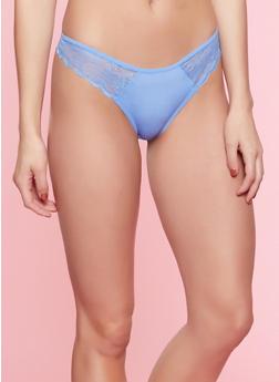 Scalloped Lace Insert Thong Panty - 7162068064070