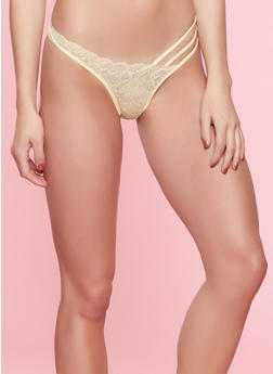 Caged Lace Thong Panty   7162068064079 - YELLOW - 7162068064079