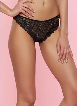 Floral Lace Thong Panty - 7162068064163