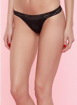 Lace Mesh Thong Panty - BLACK - 7162068064641