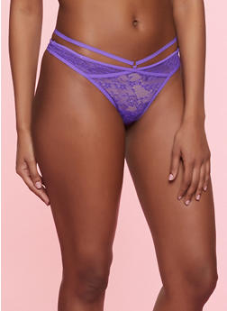Caged Lace Thong Panty - PURPLE - 7162068067266