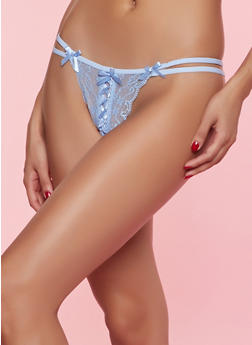 Bow Detail Lace Thong Panty - 7162068067572